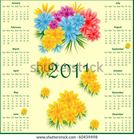 Calendar 2011 full year decorated with colorful flowers. Vector also available.