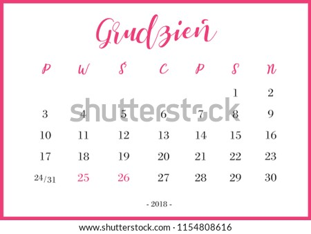 Calendar 2018 Grudzień Translation: 'December' Zdjęcia stock ©