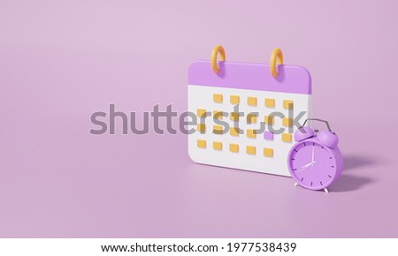 Calendar icon symbol and alarm clock minimal cartoon style design. Day month year time concept. on purple background. website banner. 3d rendering