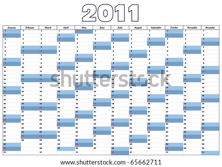 Calendar 2011 in English (vector also available)