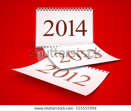 calendar 2014 in red background