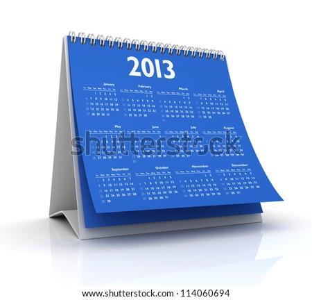 calendar 2013 in white background