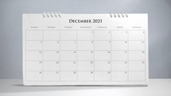 Calendar 2021 isolated on white background