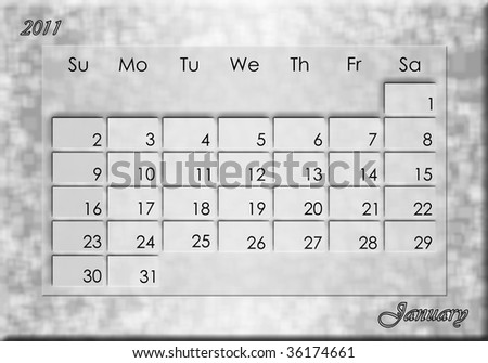 january calendars 2011. stock photo : Calendar 2011-