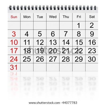 calendar january 2010 isolated on white