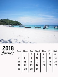 Calendar January 2018 with Ko Lipe beach, Thai island in the Andaman Sea