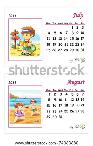 calendar 2011, July and August