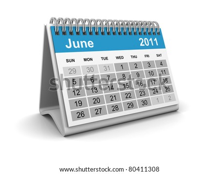 Calendar 2011 - June - stock photo