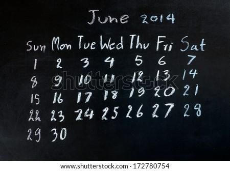 "calendar ""june 2014"" on a blackboard  #172780754"