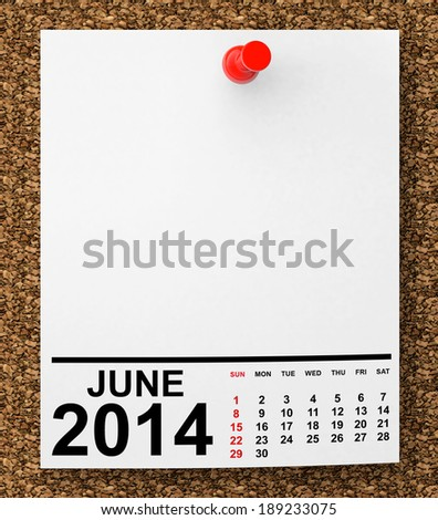 Calendar June 2014 on blank note paper with free space for your text