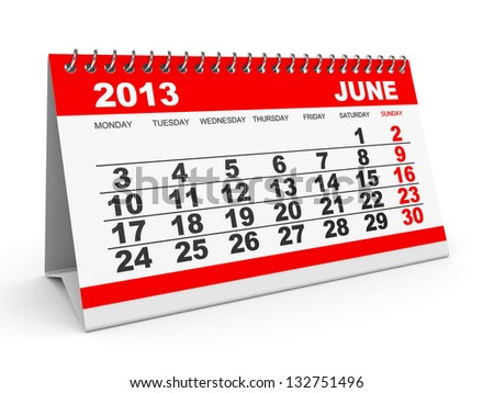 Calendar June 2013 on white background. 3D illustration.
