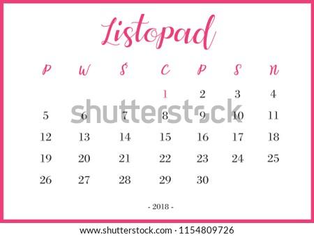 Calendar 2018 listopad Translation: 'November' Zdjęcia stock ©