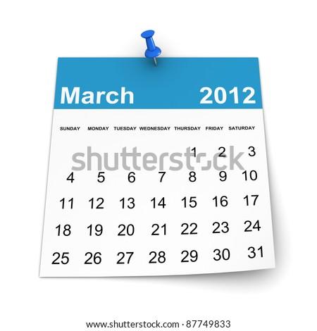 Calendar 2012 - March - stock photo