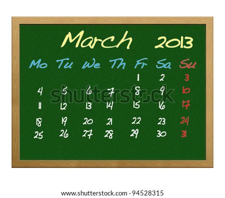 Calendar 2013, March.