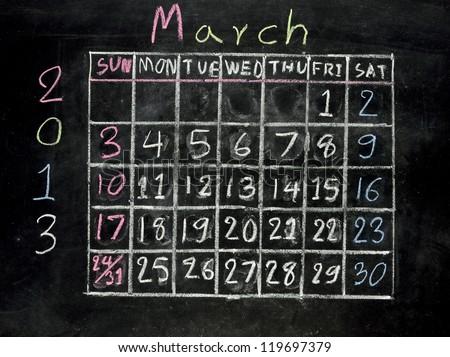 "calendar ""march 2013"" on a blackboard"