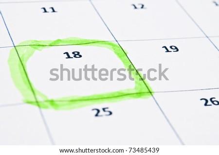 Calendar mark extreme close up