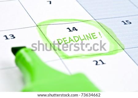 Calendar mark  with Deadline