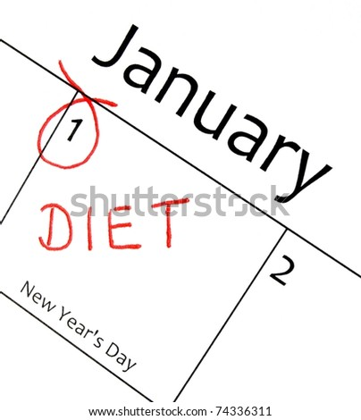 calendar marking the start of a new year resolution in red letter