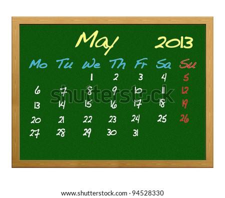 Calendar 2013, May.