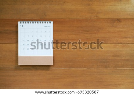 calendar november 2017 on wooden background with copy space