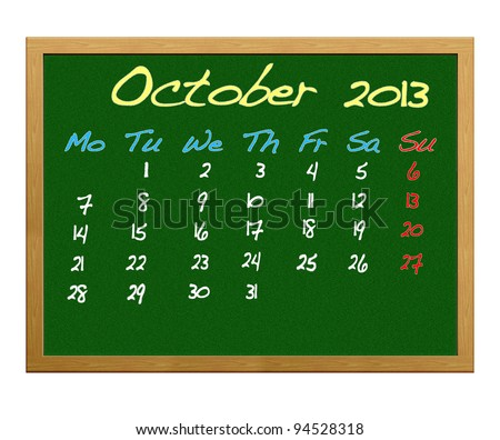 Calendar 2013, October.