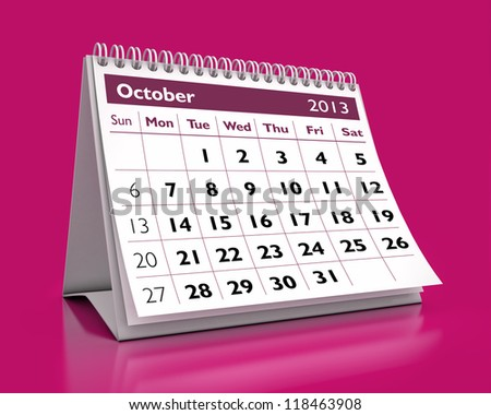 calendar October 2013 in color background