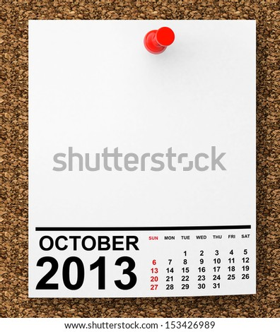 Calendar October 2013 on blank note paper with free space for your text