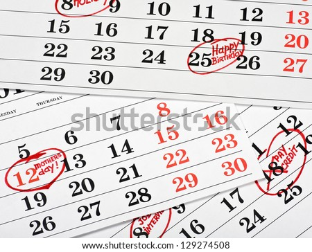 Calendar of important dates and events