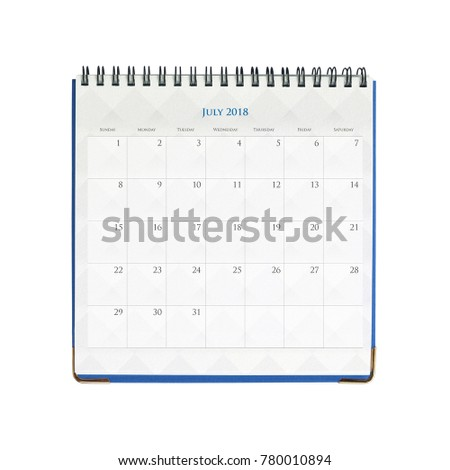 Calendar of July isolated on white background with clipping mask.