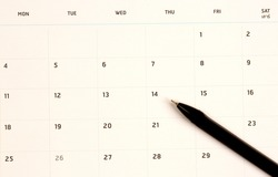 Calendar of various appointments on holidays, work, travel