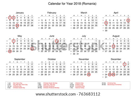 calendar of year 2018 with public holidays and bank holidays for romania