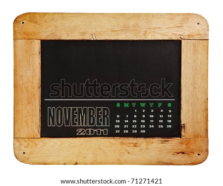 calendar 2011 on blackboard with wooden frame
