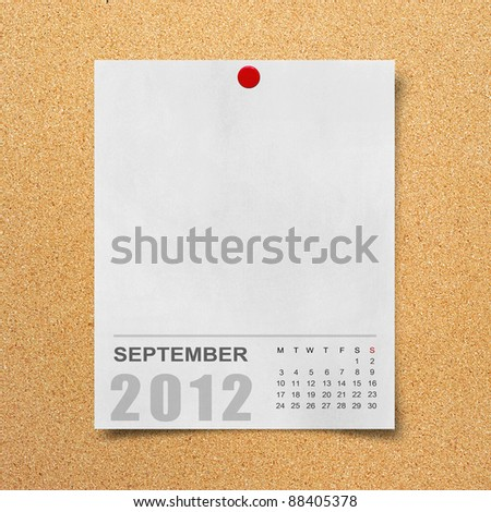 Calendar 2012 on blank Note Paper Background - stock photo