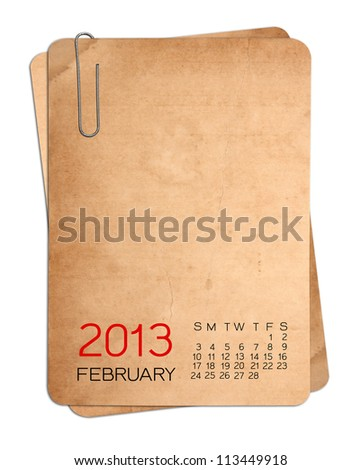Calendar 2013 on the Empty old photo  with Paper clip