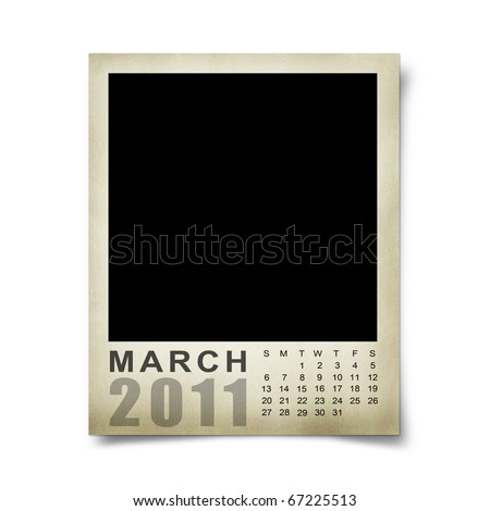 blank march calendar. Empty photo lank.march