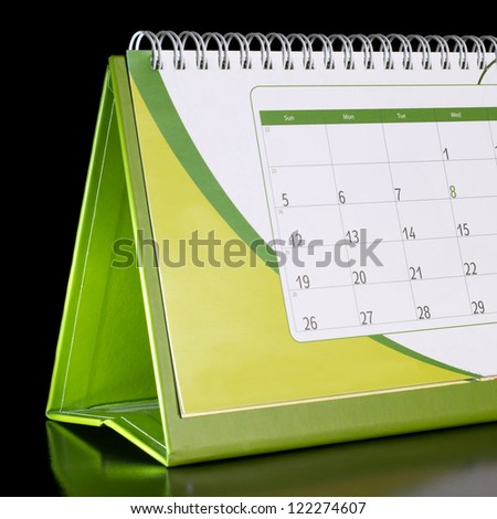 Calendar organizer on black background