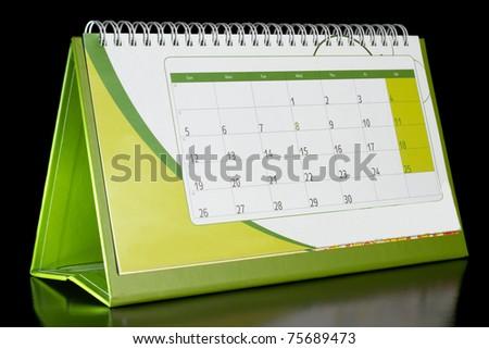Calendar organizer on black background