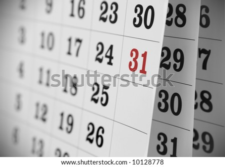 Calendar page, close-up