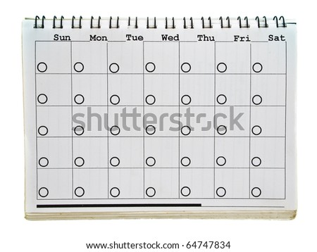 Calendar page of old spiral notebook isolated on white background