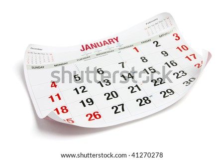 Calendar Page on Isolated White Background