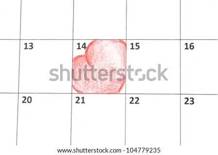 Calendar page with hearts on St.Valentines Day