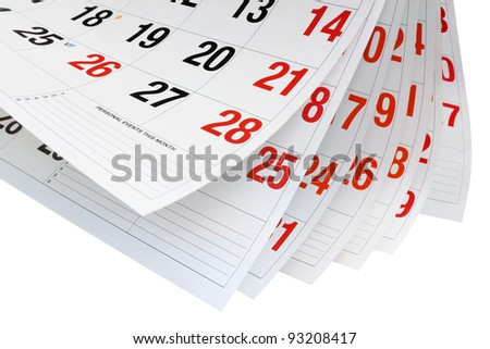 Calendar Pages on White Pages