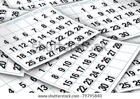 Calendar pages representing time and important dates in a month or days of the week represented by individual pages with numbers.