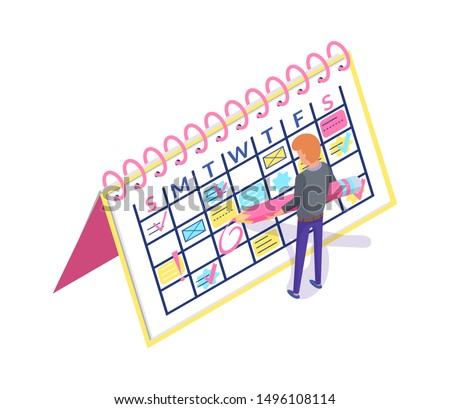 Calendar planner and man creating appointment event raster. Worker organizing workplace by scheduling business meeting. Person with weekly timetable