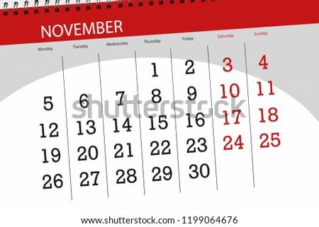 Calendar planner for the month, deadline day of week 2018 november