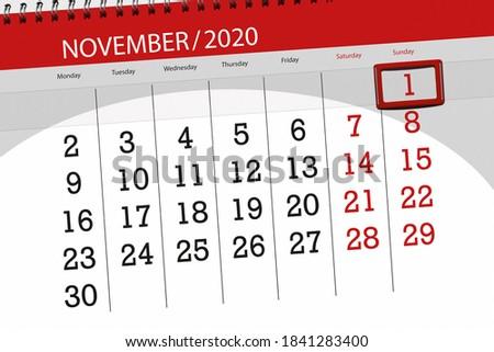 Calendar planner for the month november 2020, deadline day, 1, sunday. Foto stock ©