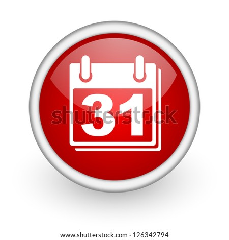 calendar red circle web icon on white background