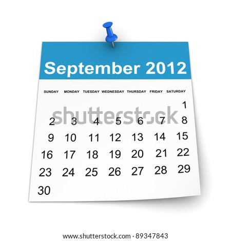 Calendar 2012 - September - stock photo