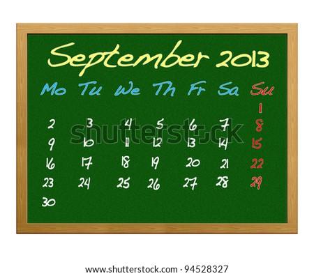 Calendar 2013,September.