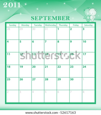 Calendar 2011 September month with large date boxes. Cartoon characters and patterned background. January to December months plus vector also available.
